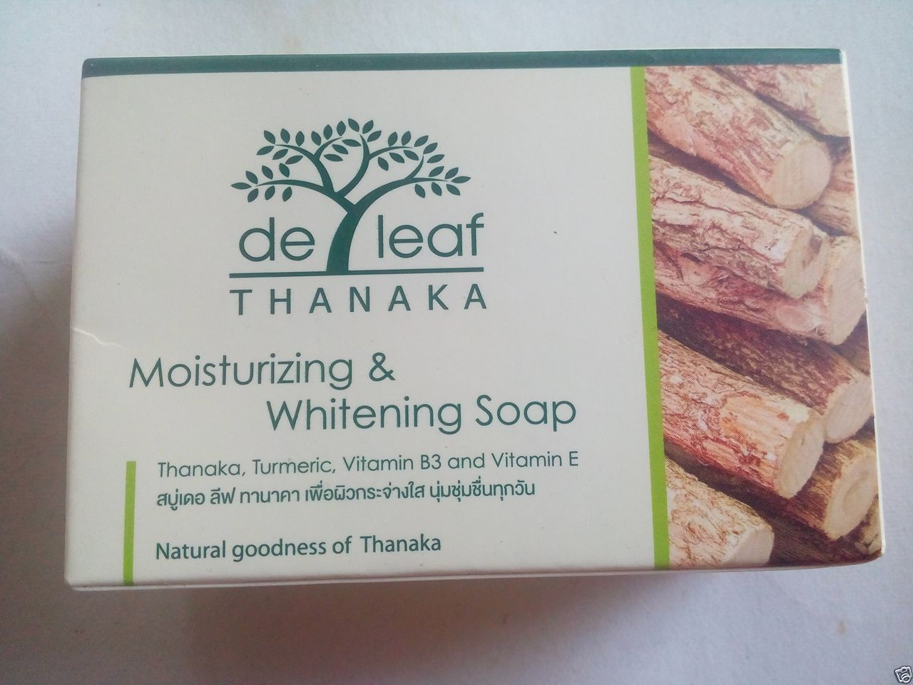 3 x De leaf Thanaka Moisturizing Whitening Soap Thanaka Turmeric Vitamin B3 , E