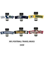 NFL Football Stainless Steel Travel Mug Rubberized Wrap  3D Team Logo 15 oz - $16.89