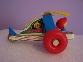 Vintage TRANSOGRAM Plastic & Wooden Pull Toy Helicopter - $7.00