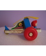 Vintage TRANSOGRAM Plastic & Wooden Pull Toy Helicopter - $3.50