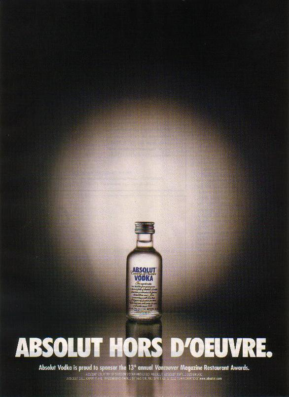 Primary image for ABSOLUT HORS D'OEUVRE Vodka Magazine Ad 13th Restaurant Awards