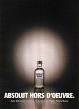 ABSOLUT HORS D'OEUVRE Vodka Magazine Ad 13th Restaurant Awards - $4.99