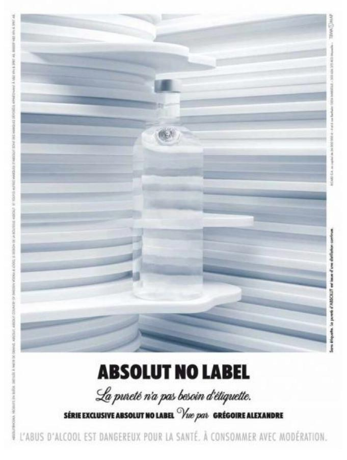 Primary image for ABSOLUT NO LABEL Vodka Magazine Ad by Grégoire Alexandre