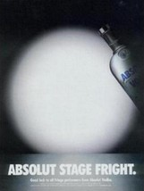 ABSOLUT STAGE FRIGHT Vodka Magazine Ad - $9.99