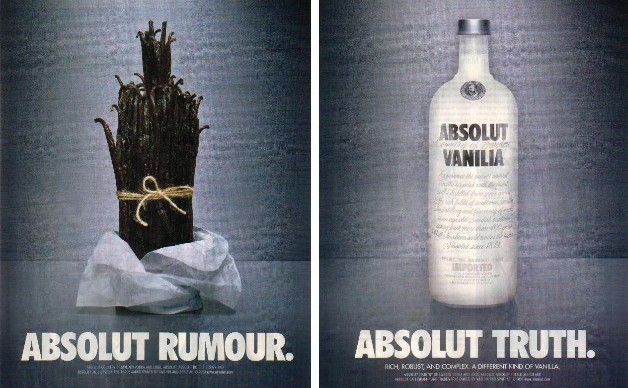 Primary image for ABSOLUT RUMOUR and ABSOLUT TRUTH Vodka Magazine Ads