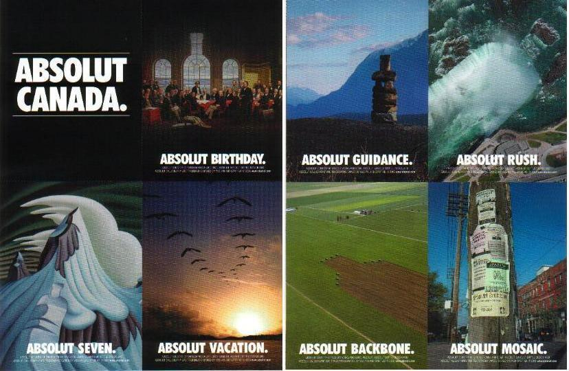 Primary image for ABSOLUT CANADA Canadian Vodka Magazine Ad 8 PERFORATED POSTCARD SHEET - RARE!