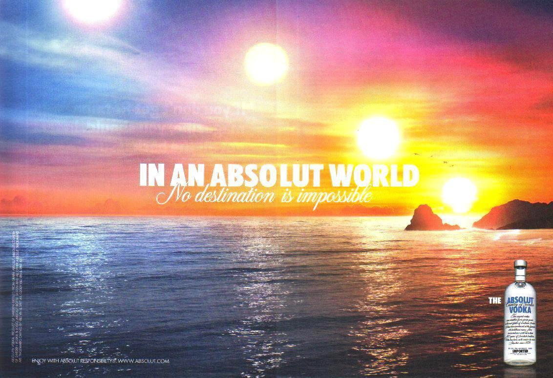 Primary image for IN AN ABSOLUT WORLD Vodka Magazine Ad NO DESTINATION IS IMPOSSIBLE 2pp
