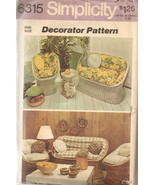 Simplicity 6315 Pattern home Patio wicker furniture chair cushions loveseat - $7.77