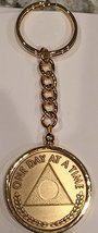 One Day At A Time Triangle AA Al-Anon Medallion Keychain Chip Holder Gold Plated - $14.84