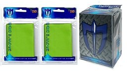 100 LIME GREEN Shuffle-Tech GLOSS Finish Sleeves + Deck Box (fits Magic ... - $6.99