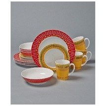 16 Pc Colorful Stripes And Dots Dinnerware Dinner Plates Salad Plates Bo... - $69.98