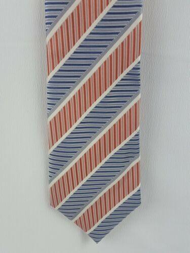 Geoffrey Beene Tie Silk Striped Orange White Blue Necktie