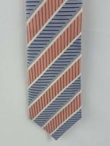 Geoffrey Beene Tie Silk Striped Orange White Blue Necktie - $8.00