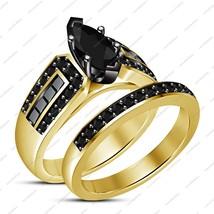 Women's 14K Yellow Gold FN Silver Marquise Cut Black Cz Engagement Bridal Set - $87.99