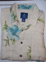 Caribbean Joe Silk Shirt Beige with Floral Mens XXL 2XL - $16.00