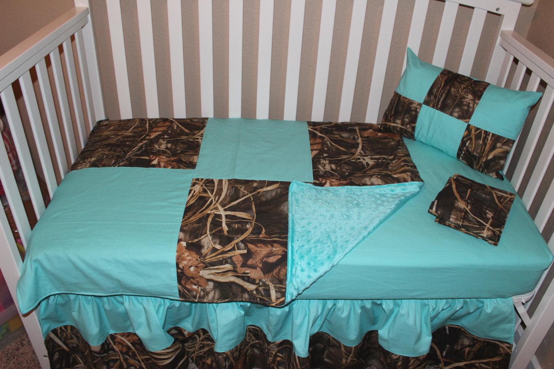 Crib Bedding Set Large Patchwork Camo 5 Piece Nursery