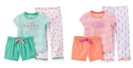 Carter's Toddler Girls 3pc Pajamas Happy or Sleep Sizes 24M, or 4T NWT - $10.39