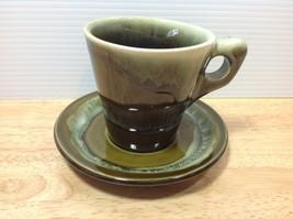 Pfaltzgraff Pottery Flat Cup & Saucer Copper Gr... - $18.69