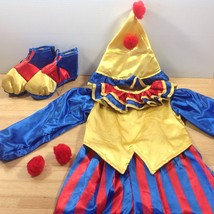 Clownin Round Clown Kids Costume Halloween Childs Outfit Hat Shoes Size Small 4 - $23.36