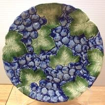 "Fitz & Floyd Grapes Luncheon Plate 9.25"" Embossed Fruit Leaves Vintage R... - $23.36"