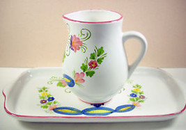 Italian Floral Pitcher and Tray Italy Art Potte... - $6.80