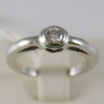 18K WHITE GOLD SOLITAIRE WEDDING BAND HEART RING DIAMOND 0.21 MADE IN ITALY