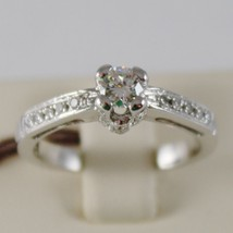 18K WHITE GOLD SOLITAIRE WEDDING BAND TOWER CASTLE DIAMONDS RING MADE IN ITALY