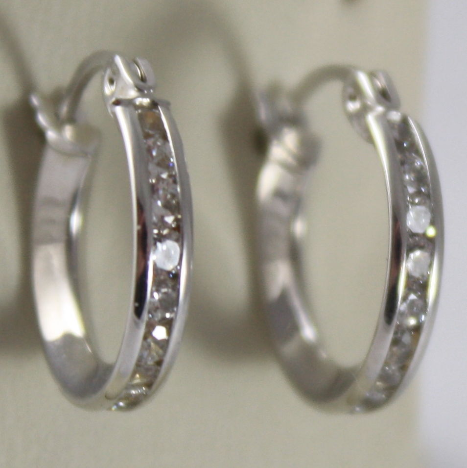 "SOLID 18K WHITE GOLD CIRCLE EARRINGS WITH ZIRCONIA, DIAM 0.51"" MADE IN ITALY"