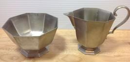 Gorham Pewter Octette Creamer Open Sugar Bowl Set Metalware Hollowware V... - $8.38