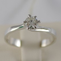 18K WHITE GOLD SOLITAIRE WEDDING BAND CROWN RING DIAMOND 0.33 MADE IN ITALY