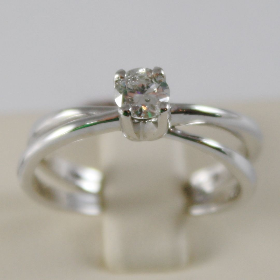 18K WHITE GOLD SOLITAIRE WEDDING BAND DOUBLE RING DIAMOND 0.35 MADE IN ITALY