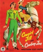 VINTAGE UNCUT 1955 COWGIRL JILL & COWBOY JOE PA... - $19.99