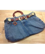 Blue Jeans Purse Tote Bead Handle Belt 2 Pins K... - $32.71