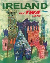 Vintage David Klein TWA Poster Ireland Mid Century Modern  - $64.33