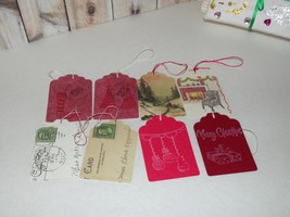 Miniature Postcards and Hand Stamped Handmade Christmas Gift Tags Set of 8 - $4.99