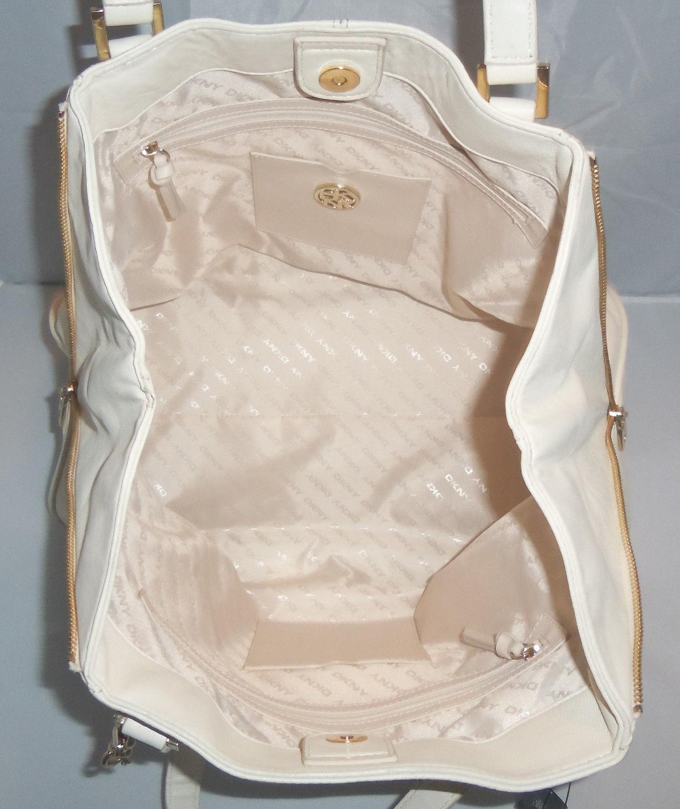 DKNY Handbag Lamb Nappa Large Zip Tote, Shoulder Bag, Shopper, Purse $385 Ivory