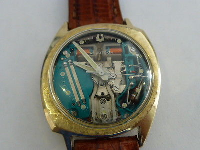 Vintage 14K Yellow Gold Accutron Spaceview Watch w/ New Lizard Band and Battery