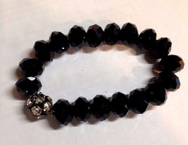 VINTAGE 80s 90s Bracelet BLACK GLASS CRYSTAL an... - $30.71