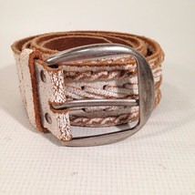 "HOLLISTER Wide 2"" BELT Braided BRUSHED Leather WHITE Brown NWOT - $20.42"