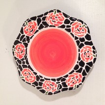 JKL Ceramic Halloween Candle PLATE JACK O LANTERN Mosaic Pumpkin Design ... - $18.48