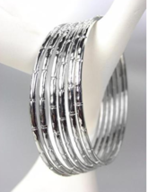 CHIC 6 PC Silver Metal Bamboo Motif Plus Size Bangle Bracelets - €13,99 EUR