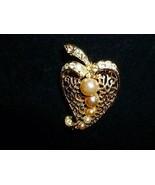 Vintage Coro Brooch Pretty Filigree  Heart Shape Faux Pearls and Faux Di... - $20.00