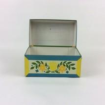 Vtg Syndicate Mfg Co Tin Metal Recipe Card File Box Blue & Yellow Flower... - $15.83