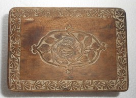 India Vintage Wooden Box Nicely Hand carved, 2 Campartments, Some Damage... - $24.46