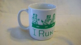 I Run For Fun White Ceramic Coffee Cup with Gre... - $19.78