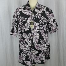 Cooke Street Honolulu Aloha Camp Floral Black White Shirt Men Sz Large NWT - $28.04