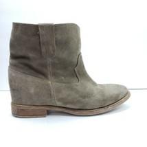 Anthropologie Women Western Hidden Wedge Booties Crisi Suede Leather Size 41 - $139.99