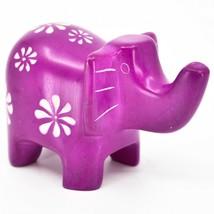 Vaneal Group Hand Carved Kisii Soapstone Fuchsia Elephant Figurine Kenya image 1