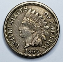 1863 Indian Head Cent Penny Coin Lot 519-112