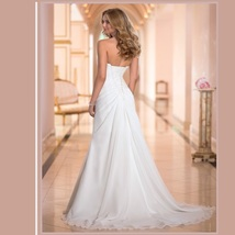 Classic Custom Lace Up Back Strapless Empire Beaded Princess Satin Wedding Gown